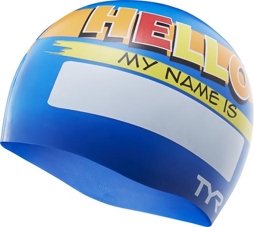 Шапочка для плавания TYR Hello My Name Is Swim Cap (420 Голубой)