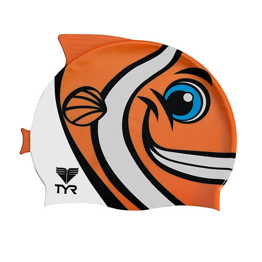 Шапочка плавательная TYR Charactyrs Happy Fish Cap (810 Оранжевый)