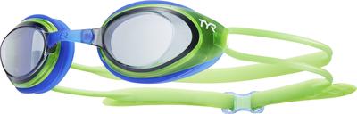 Очки для плавания TYR Black Hawk Racing Junior (526 Дымчатый/Светло-зеленый/Голубой)