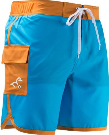 Шорты TYR Men's Solid Bulldog Boardshort (492 Голубой/Оранжевый)