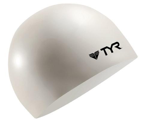 Шапочка плавательная TYR Wrinkle Free Junior Silicone Cap (100 Белый)