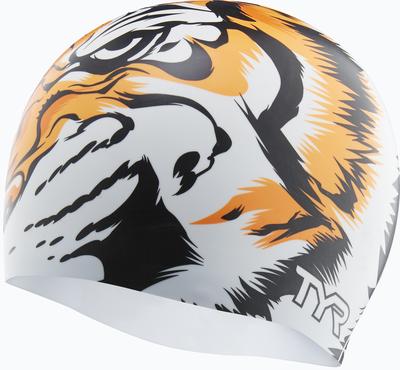 Шапочка для плавания TYR Silicone Tiger Cap (166 Белый/Оранжевый)