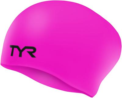 Шапочка для плавания TYR Junior Long Hair Wrinkle-Free Silicone Cap (693 Розовый)