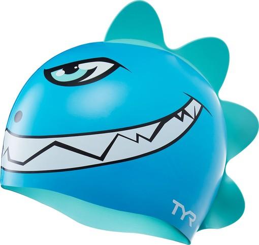Шапочка для плавания детская TYR Charactyrs Dino Destroyer Cap (466 Голубой/Зеленый)
