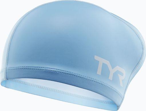 Шапочка для плавания TYR Silicone Comfort Long Hair Cap Junior (450 Светло-голубой)