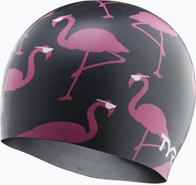 Шапочка для плавания TYR Silicone Pink Flamingo Cap (121 Черный/Розовый)