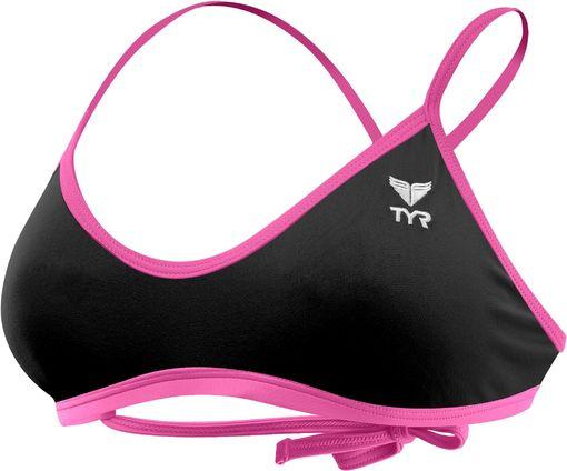 Топ купальника TYR Solid Crosscutfit Tie Back Top (478 Голубой/Черный)