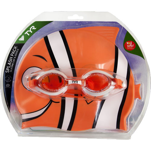 Набор для плавания (очки и шапка) TYR Happy Fish Charactyrs Splash Pack (810 Оранжевый)