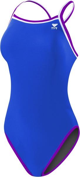 Купальник слитный двусторонний TYR Hydraspan Reversible Diamondfit (177 Серый/Голубой/Фиолетовый)