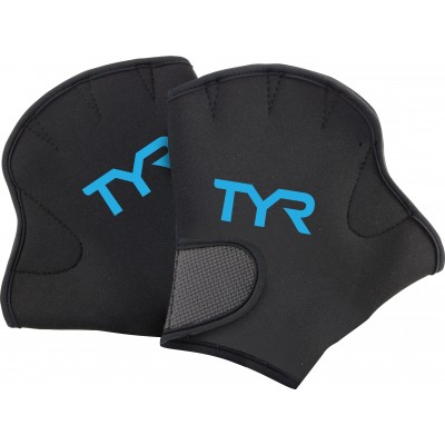 Акваперчатки TYR Aquatic Resistance Gloves (011 Черный/Голубой)