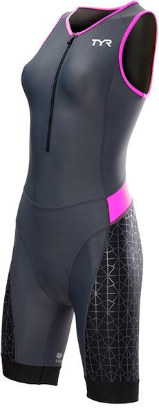 Стартовый костюм без рукавов с молнией спереди TYR Women'S Competitor Padded Front Zip Tri Suit (030 Серый/Розовый/Черный)