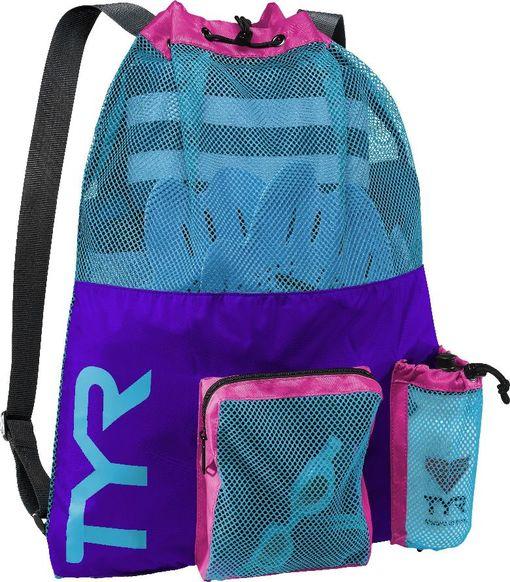 Рюкзак для аксессуаров TYR Big Mesh Mummy Backpack (545 Фиолетовый/Голубой)