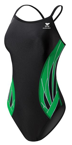 Купальник слитный TYR Phoenix Diamondfit (014 Черный/Зеленый)