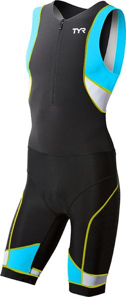Стартовый костюм без рукавов с молнией спереди  TYR Competitor Front Zip Tri Suit W/ Pad (706 Черный/Лайм)