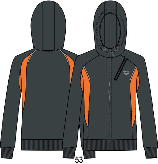 ARENA Толстовка Training+ hooded F/Z jacket (68427)